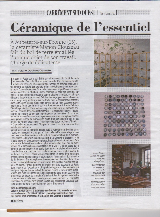 article sud ouest manon clouzeau